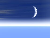 Moon Background. Moon on a cool blue surreal horizon Stock Images