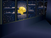 Moon and balcony. View on a big yellow moon and stars from a balcony Stock Image
