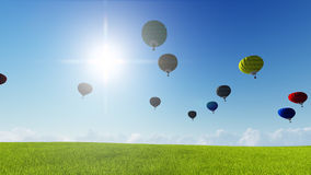 Moon balloons and spring green meadow. Nature composition. 3D rendering. This image elements furnished by NASA. Balloon on blue sky Royalty Free Stock Photography