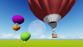 Moon balloons and spring green meadow. Nature composition. 3D rendering. This image elements furnished by NASA. Balloon on blue sky Royalty Free Stock Images
