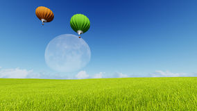 Moon balloons and spring green meadow. Nature composition. 3D rendering. This image elements furnished by NASA. Balloon on blue sky Stock Photo