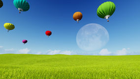 Moon balloons and spring green meadow. Nature composition. 3D rendering. This image elements furnished by NASA. Balloon on blue sky Stock Photography