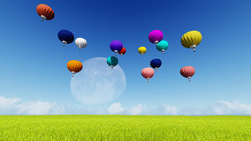 Moon balloons and spring green meadow. Nature composition. 3D rendering. This image elements furnished by NASA. Balloon on blue sky Royalty Free Stock Photo