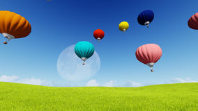 Moon balloons and spring green meadow. Nature composition. 3D rendering. This image elements furnished by NASA. Balloon on blue sky Stock Images