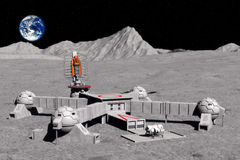 Moon base. A base on the moon with the earth in background in 3d Stock Image