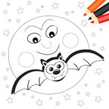 Moon and bat. Halloween coloring book page for kids: Black and white sketch with moon and bat vector illustration