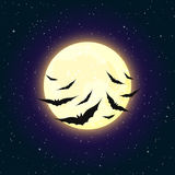 Moon and Bats Background Stock Image
