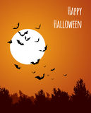 Moon with bats - Halloween design. Horror background with holiday text. Vector Stock Photos