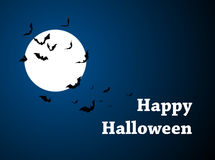 Moon with bats - Halloween design. Horror background with holiday text. Vector Stock Photo