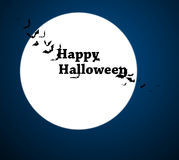 Moon with bats - Halloween design. Horror background with holiday text. Vector Stock Image