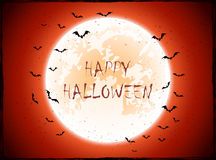 Moon and bats on orange background Royalty Free Stock Photo