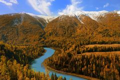 Moon Bay en Kanas Xinjiang China Imagen de archivo