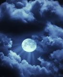 Moon Beams And Clouds Stock Image