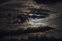Moon behind clouds Royalty Free Stock Photos