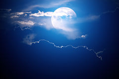 Moon behind clouds Royalty Free Stock Image