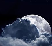 The moon behind some clouds Royalty Free Stock Photo