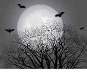 The moon behind tree branches Stock Photography