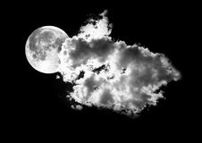 Moon Between The Clouds Royalty Free Stock Image