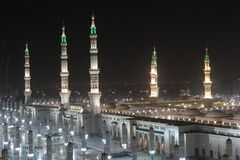 Free Moon Between Two Towers Of The Prophet S Mosque In Al Madinah, Saudi Arabia Royalty Free Stock Image - 189856336
