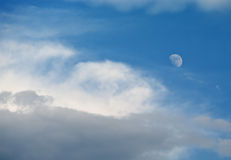 Moon in the blue sky Royalty Free Stock Images