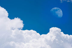 Moon on the blue sky Royalty Free Stock Photography