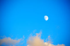 Moon in a blue sky with clouds Royalty Free Stock Photography
