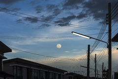 Moon in blue sky. Royalty Free Stock Image
