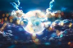 Moon bokeh in galaxy stars sky Royalty Free Stock Photos