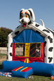 Moon bounce playhouse. A view of a colorful blow-up moon bounce playhouse Stock Images