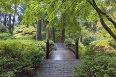 Moon Bridge at Japanese Garden. In Portland Oregon stock photo