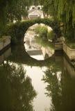 Moon Bridge Shaoxing China. Moon Bridge, Shaoxing, Zhejiang, China Water and reflections of Chinese buildings Stock Photos