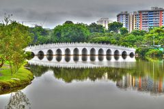 Moon bridge to the Chinese Garden in Singapore Royalty Free Stock Photo