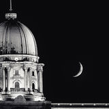 Moon in Budapest Royalty Free Stock Photography
