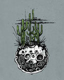 Moon with cactus illustration Royalty Free Stock Photography
