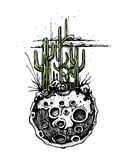 Moon with cactus illustration Royalty Free Stock Image