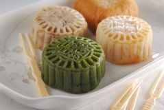 Moon Cake. Chinese Green Tea Moon Cake assorted stock photo