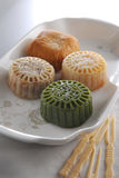 Moon Cake. Chinese Green tea moon cake assorted Royalty Free Stock Images