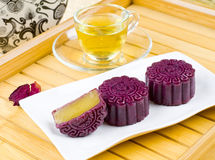 Moon cake. Chinese moon cake -- food for Chinese mid-autumn festival stock photo