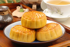 Moon cake. Chinese moon cake -- food for Chinese mid-autumn festival royalty free stock photo