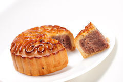 Moon cake. With a portion cutout royalty free stock photography