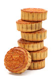 Moon cake. Mid-Autumn Festival moon cake on white background royalty free stock photo