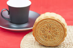 Moon cake on a bamboo mat Royalty Free Stock Images