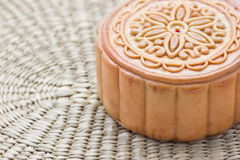 Moon cake on a bamboo mat Royalty Free Stock Photo