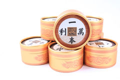 Moon cake box. Chinese idioms:a small investment brings a ten thousandfold profit, on the box in the moon cake Royalty Free Stock Images