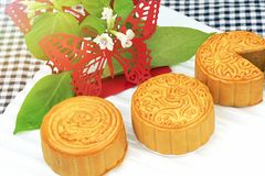Moon cake, Chinese dessert present in modern fusion style. Stock Photo