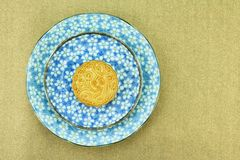 Moon cake, Chinese dessert present in modern fusion style. Royalty Free Stock Image