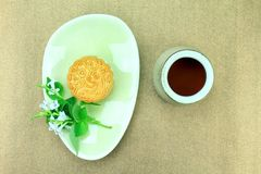 Moon cake, Chinese dessert present in modern fusion style. Stock Image
