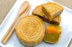 A moon cake, Chinese dessert on white plate Stock Images
