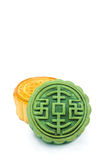 Moon Cake. Chinese Moon cake green tea and durian filling on white background , for celebrate in Mid-autumn festival royalty free stock photography