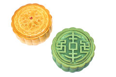 Moon Cake. Chinese Moon cake green tea and durian filling on white background , for celebrate in Mid-autumn festival royalty free stock photo